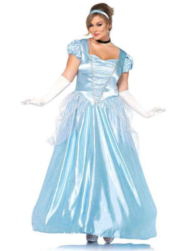 Plus Size Women's Cinderella Disney Princess Costume Front View
