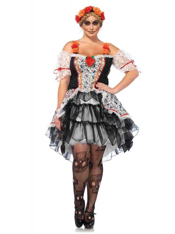 Plus Size Women's Sugar Skull Day Of The Dead Costume Main Image