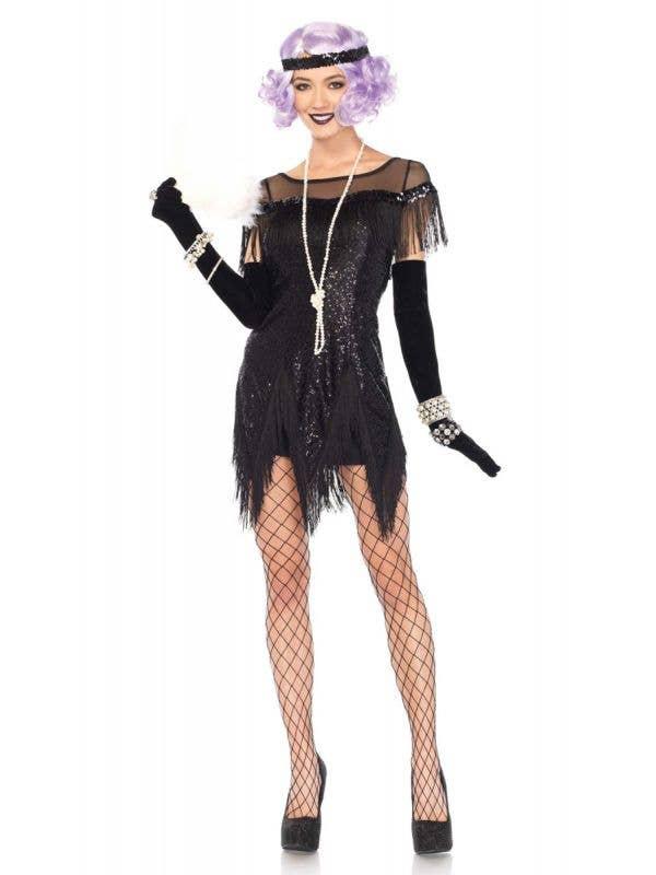Sequined Black 1920's Women's Fancy Dress Costume Front View