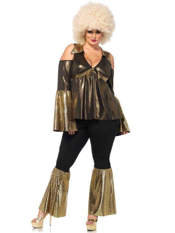 Plus Size 70's Outfit for Women Black and Gold Disco Diva Costume - Front Image