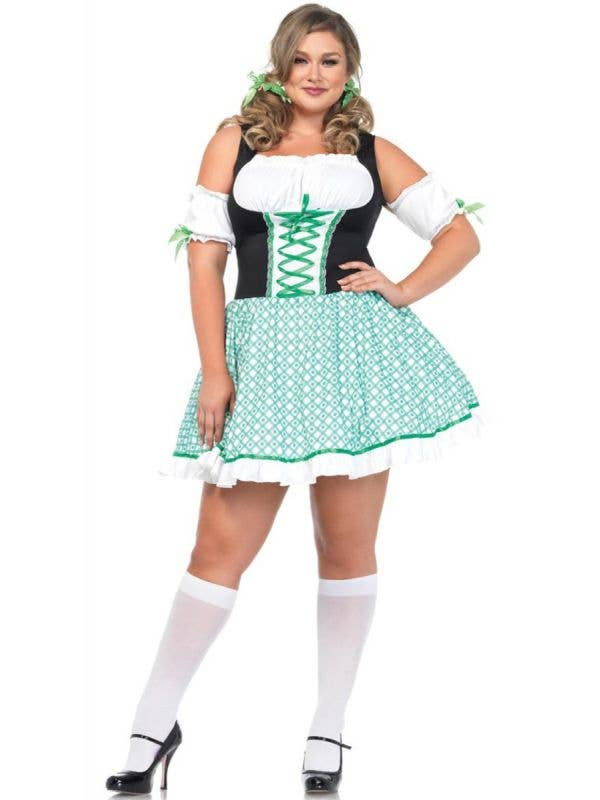 Sexy Women's Plus Size St Patricks Day Irish Costume Front View