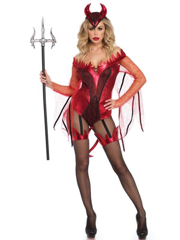 Women's Sexy Red Devil Bodysuit Costume Main Image