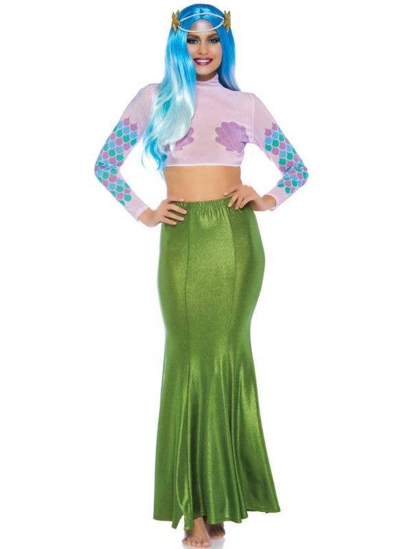Womens Plus Size Shimmer Green Mermaid Costume Skirt Main Image