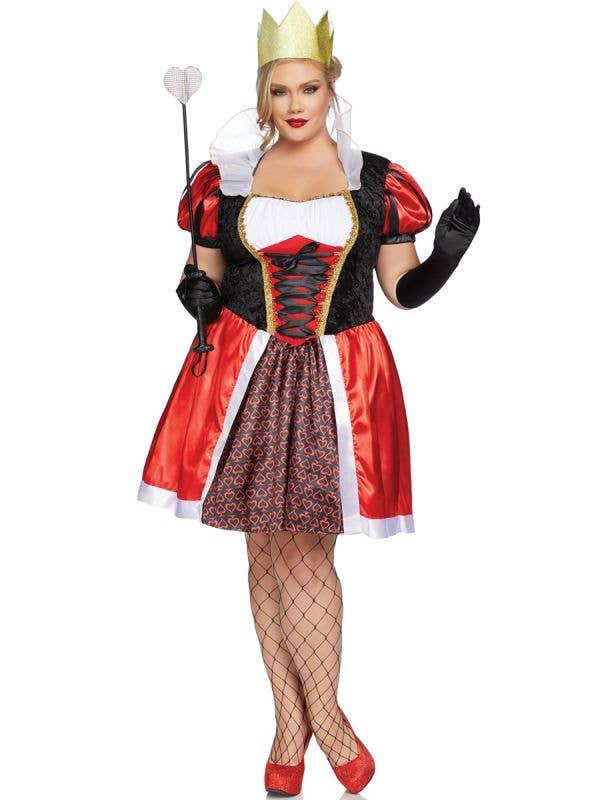 Women's Plus Size Wonderland Queen of Hearts Fancy Dress Costume View 1