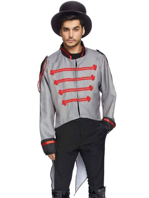 Men's Grey Halloween Military Ringleader Costume Jacket with Tails View 1