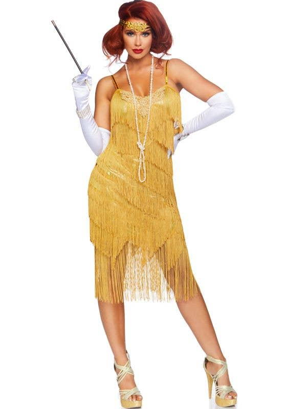 Women's Deluxe Dazzling Daisy Gold 1920's Flapper Dress Up Costume Front View
