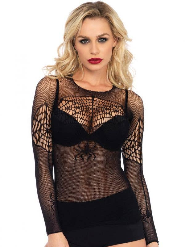 Women's Sexy Black Fishnet Spiderweb Halloween Costume Top - Front Image