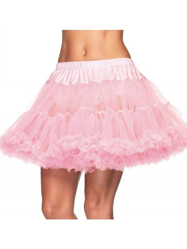 Plus Size Ruffled Thigh Length Pink Costume Petticoat