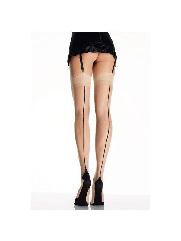 bee232407c6e9 Cuban Heel Thigh Highs with Back Seam | Nude Thigh High Stockings
