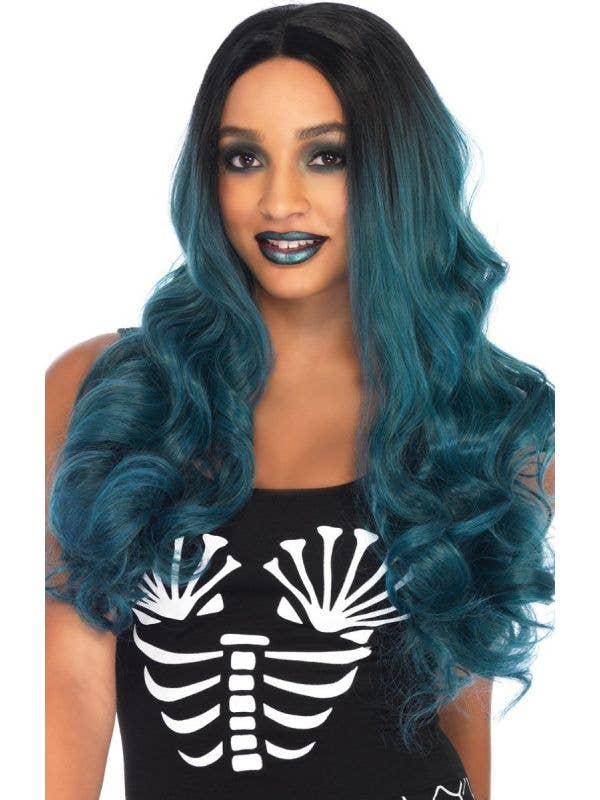 Women's Long Dark Turquoise and Black Ombre Mermaid Wig Front View