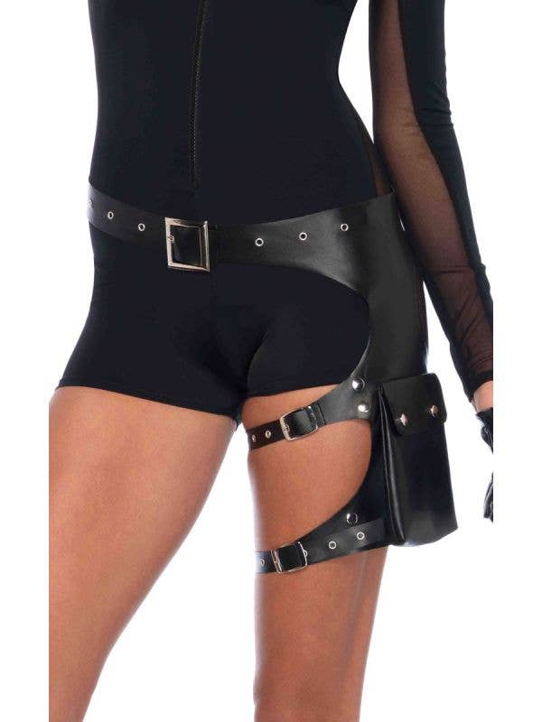 Black Utility Garter Belt Police Officer Costume Utility