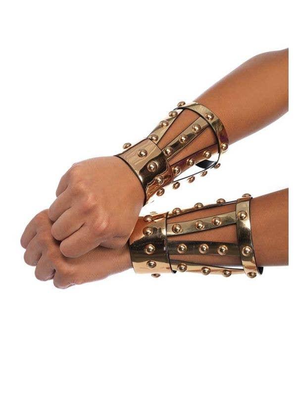 Gold Chrome Gladiator Warrior Wrist Cuffs with Studs