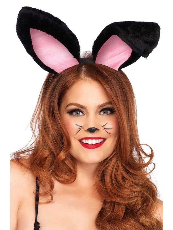 Women's Black Plush Bunny Ears Playboy Easter Costume Accessory Headband Main Image