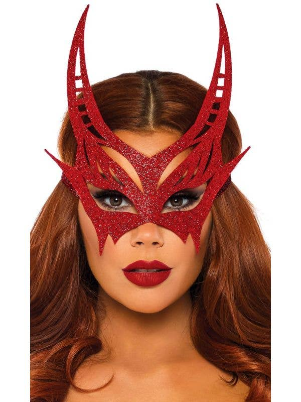 Women's Red Glitter Devil Masquerade Costume Mask Main Image