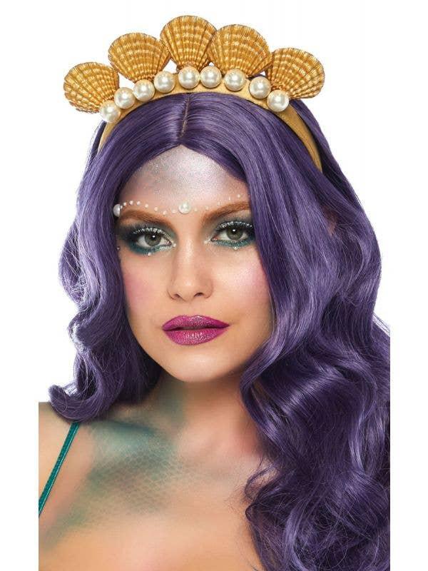 Women's Deluxe Gold Mermaid Seashell and Pearls Headband Costume Accessory