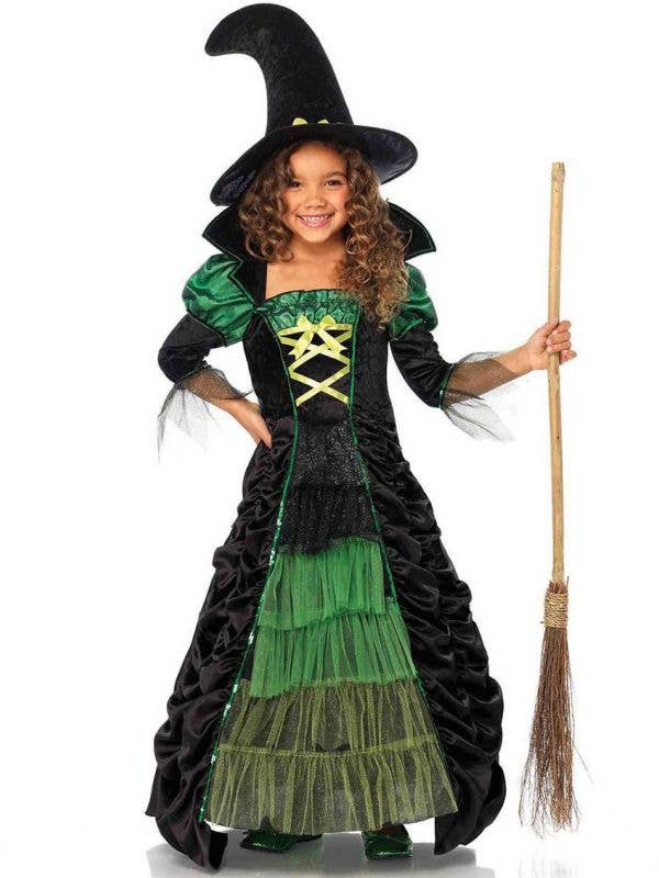 Girl's Green Storybook Witch Halloween Fancy Dress Costume Main Image