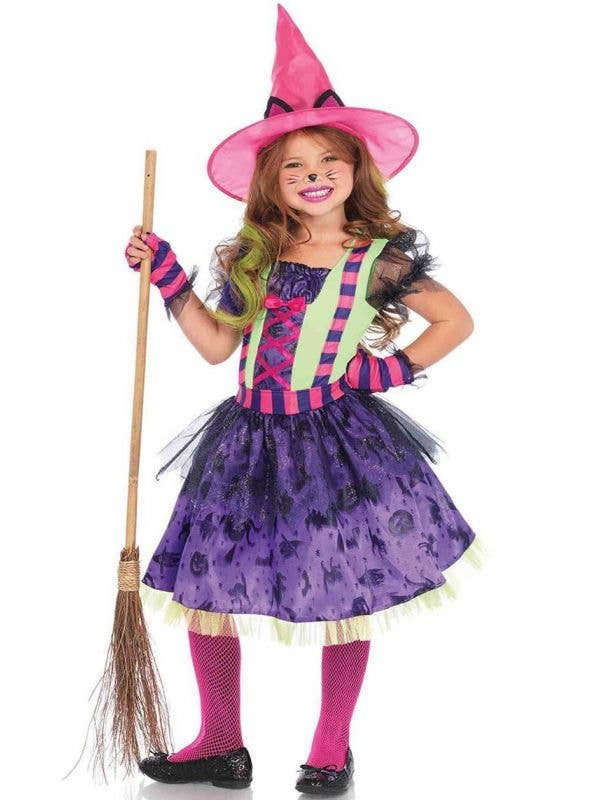 Leg Avenue Girl's Black Cat Witch Fancy Dress Halloween Costume - Main Image