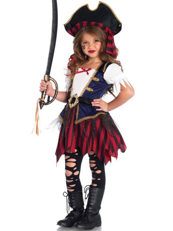 Cute Girls Caribbean Pirate Costume Main Image