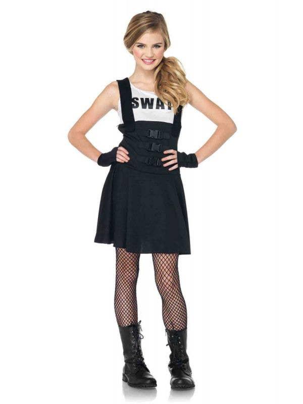 Teen Girl's SWAT Officer Fancy Dress Costume Front View