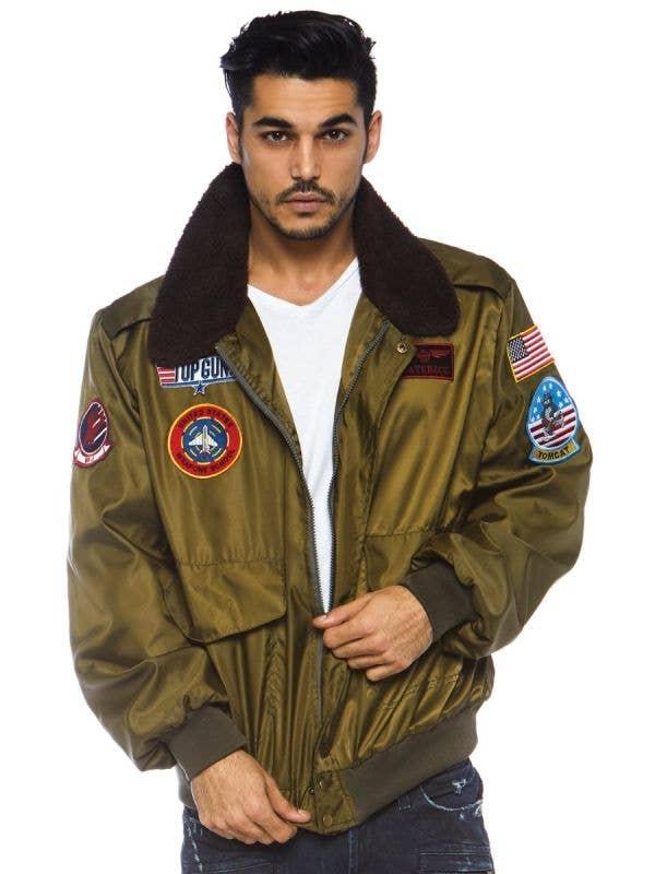 Officially Licensed Maverick Goose Men's Top Gun Costume Bomber Jacket Front Image