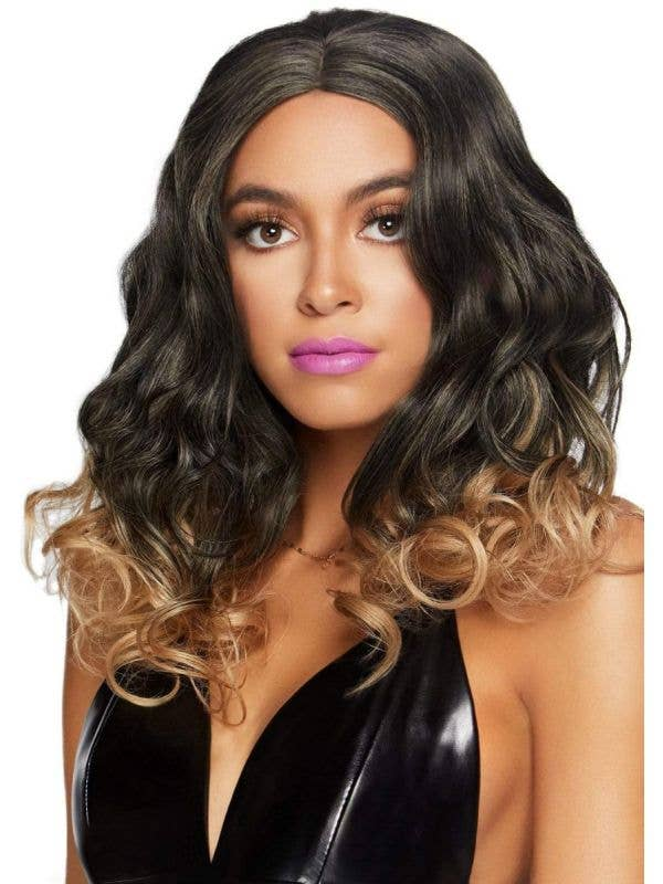 Women's 18 Inch Short Curly Brown to Blonde Ombre Costume Wig Front Image