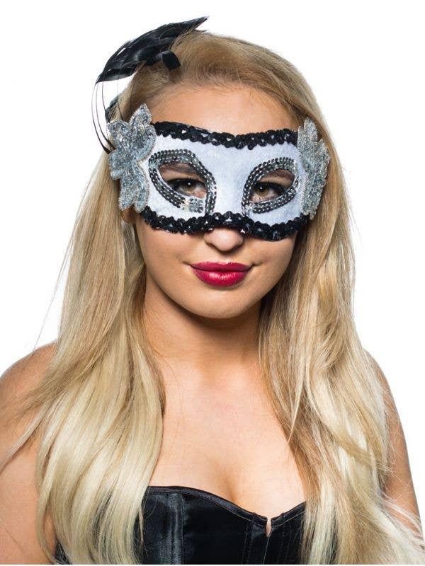 Women's Black And White Feather Spray Masquerade Mask