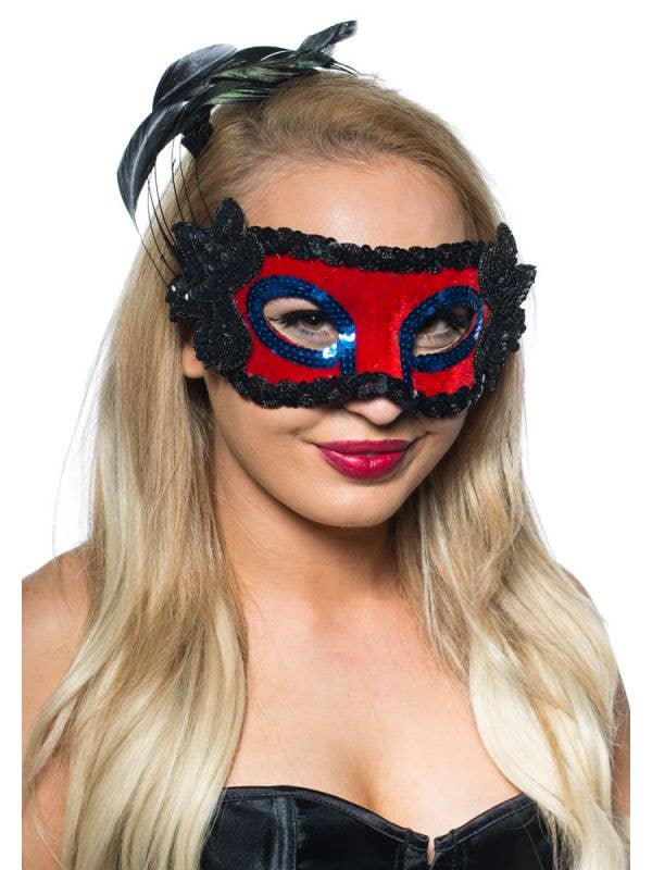 Red And Black Side Feather Women's Masquerade Mask View 2