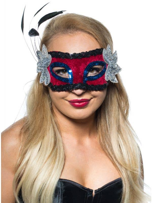 Red Velvet Masquerade Mask With Side Feathers
