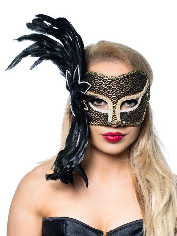 theater side feather masquerade mask  black and gold