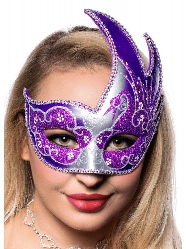 Purple And Silver Women's Swan Masquerade Mask Main Image