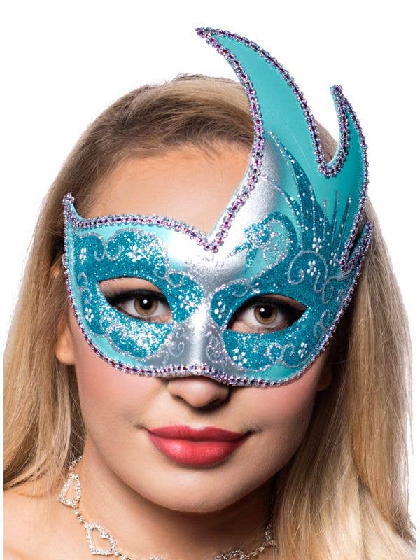 Silver Swan Masquerade Mask With Aqua Glitter Front On
