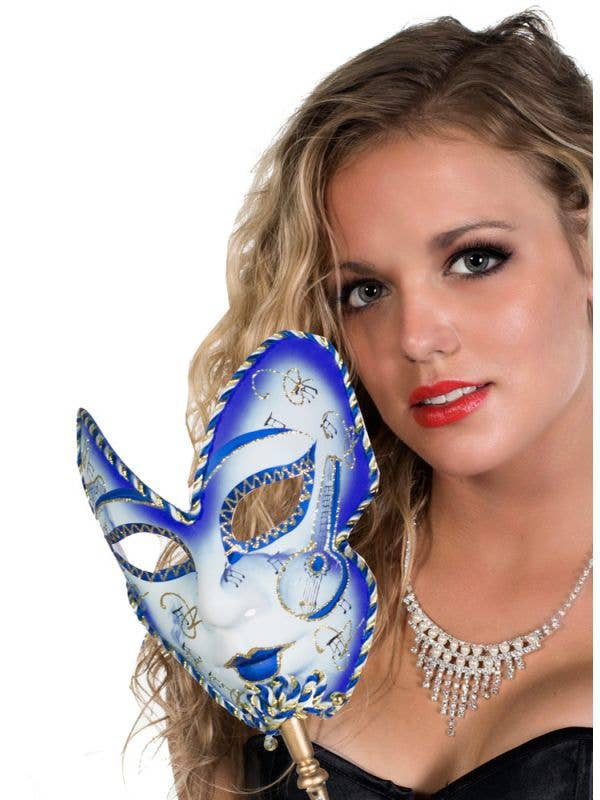 Hand Held Blue And White Volto Masquerade Mask