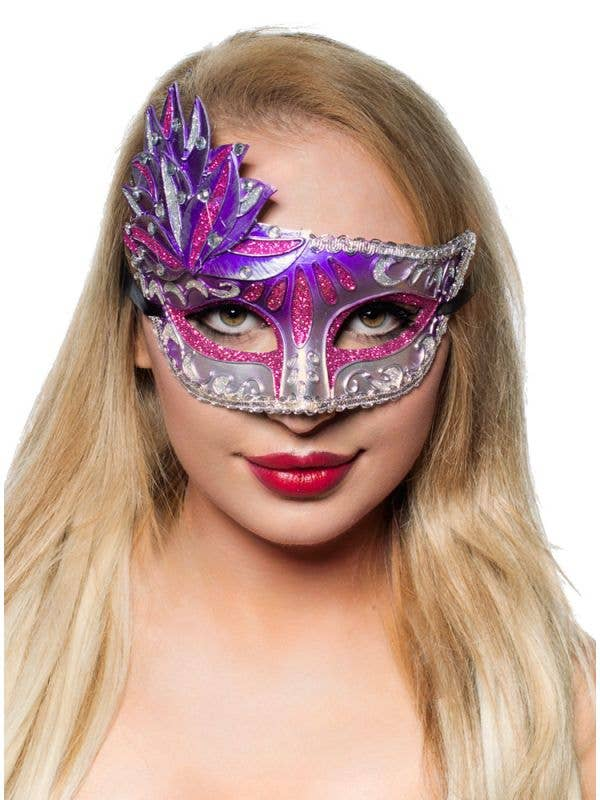 Purple And Silver Women's Side Overlay Masquerade Mask Main Image