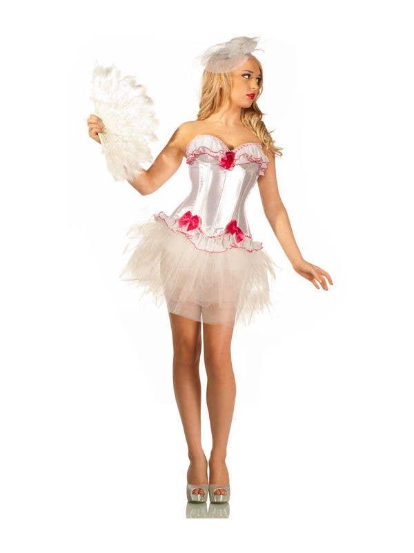 04a5b7011e0 Women s Pink Burlesque Costume Corset Front View