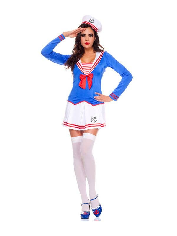 Sexy Blue And White Women's Sexy Sailor Anchors Away Fancy Dress Costume With Red Details Main View