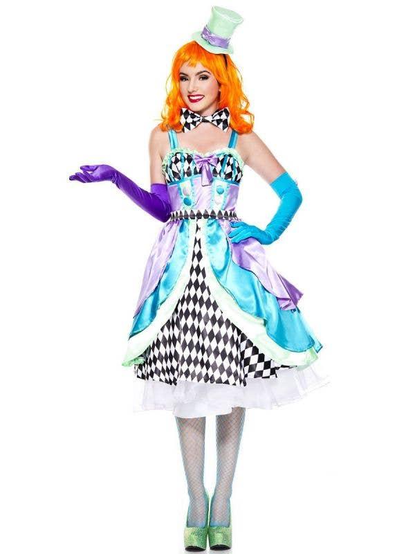 Miss Mad Hatter Women's Fairytale Fancy Dress Costume Front Image