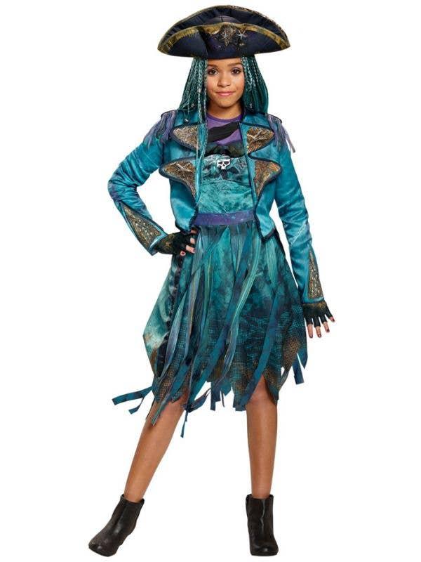 7daaf6f1c3b9 Girl's Deluxe Disney Descendants Officially Licensed Uma Pirate Teal Blue Fancy  Dress Costume Main Image