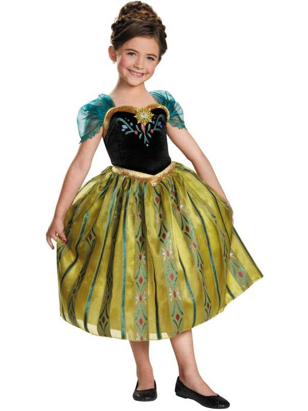 Deluxe Girls Licensed Anna Coronation Fancy Dress Costume Front Image
