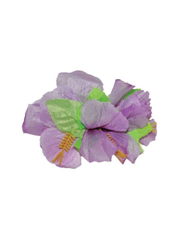 Hawaiian Purple and Green Hibiscus Flower Hair Clip Costume Accessory For Women Main Image