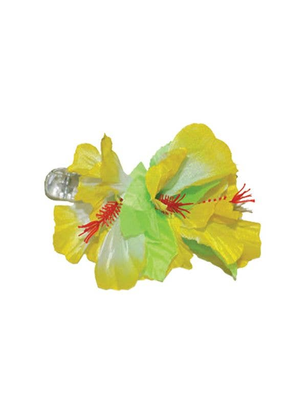 Women's Yellow And Green Hibiscus Flower Hawaiian Hair Clip Costume Accessory Main Image