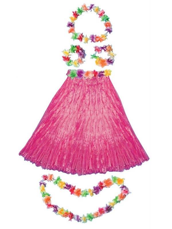 Pink Aloha Luau Grass Skirt and Lei Hawaiian Costume Kit - Main Image