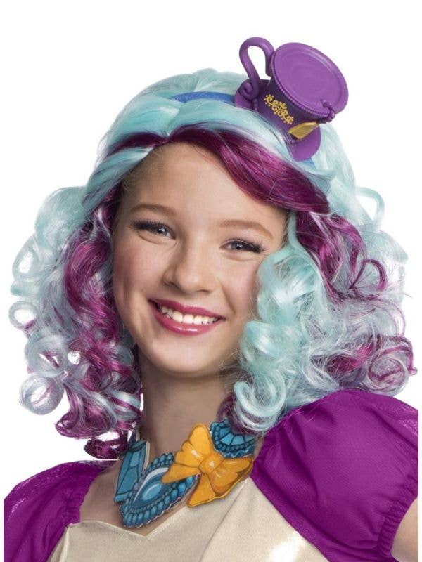 Rubies ever after high madeline hatter girls curly purple and blue costume wig - Main Image