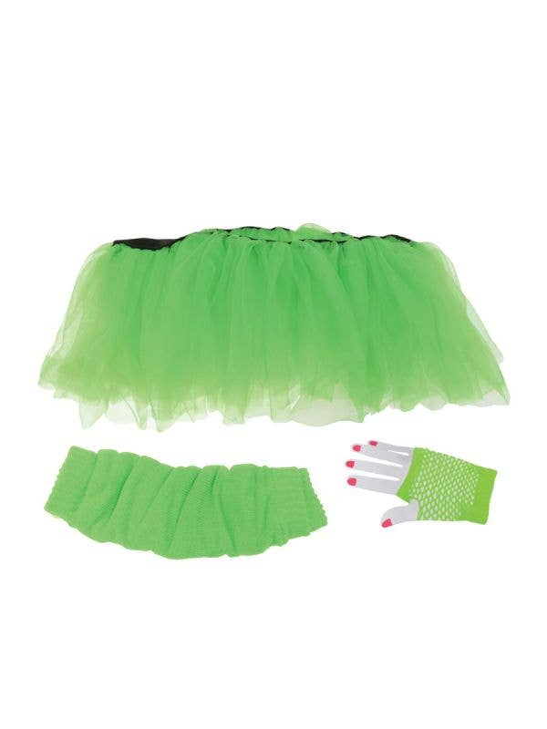 Underwraps womens 1980s neon green tutu leg warmers and gloves costume accessory set-Main Image