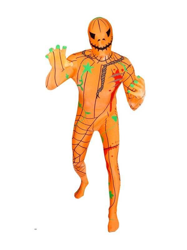 Mens Creepy Evil Pumpkin Morphsuit Fancy Dress Costume