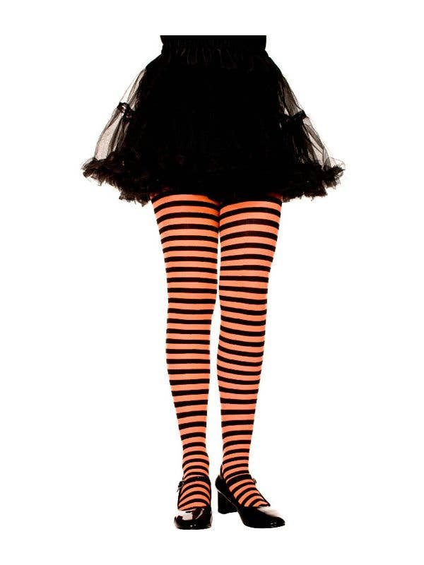 f672956921ff5 Striped Girls Costume Tights - Black and Orange | Girls Tights
