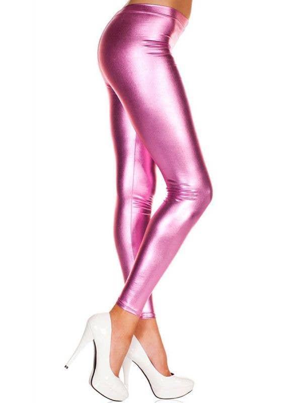 Metallic Hot Pink Women's Footless Leggings