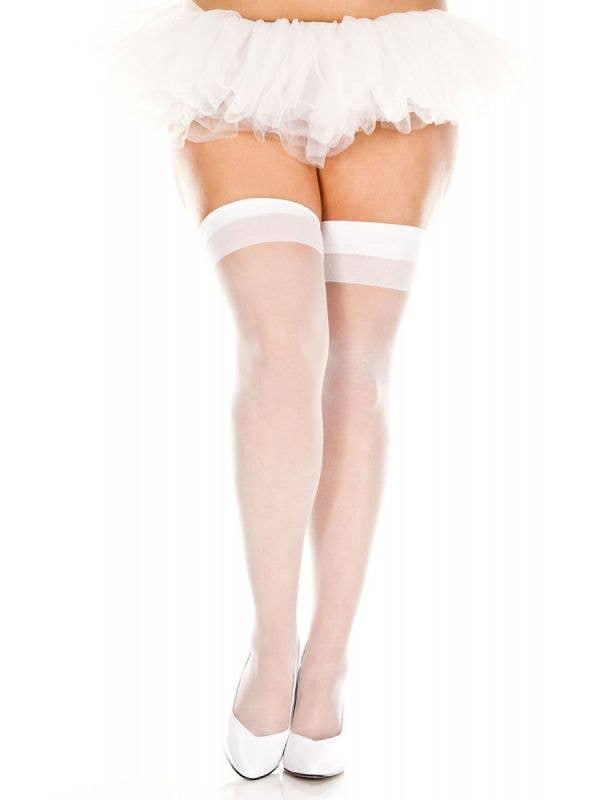 White Sheer Plus Size Thigh High Stockings