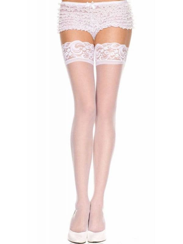 517ba67f622 Womens Sexy Lace Top Sheer White Thigh High Stockings Music Legs - Main  Image