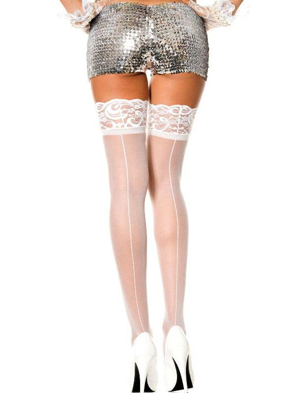 ace45cf6f83 Sheer White Thigh High Stockings With Back Seams