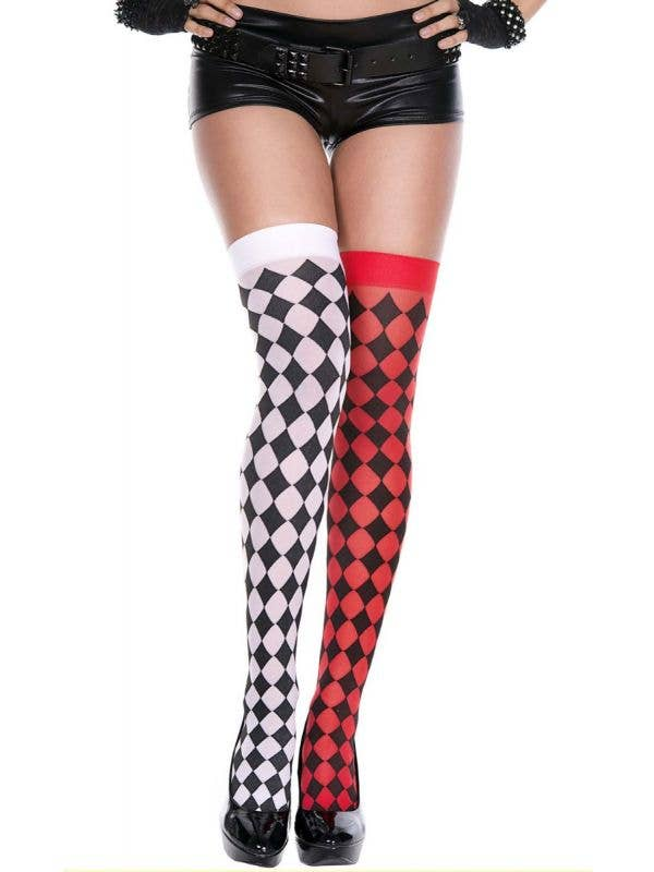 Women's Red and Black Mismatch Harlequin Thigh High Stockings Main Image